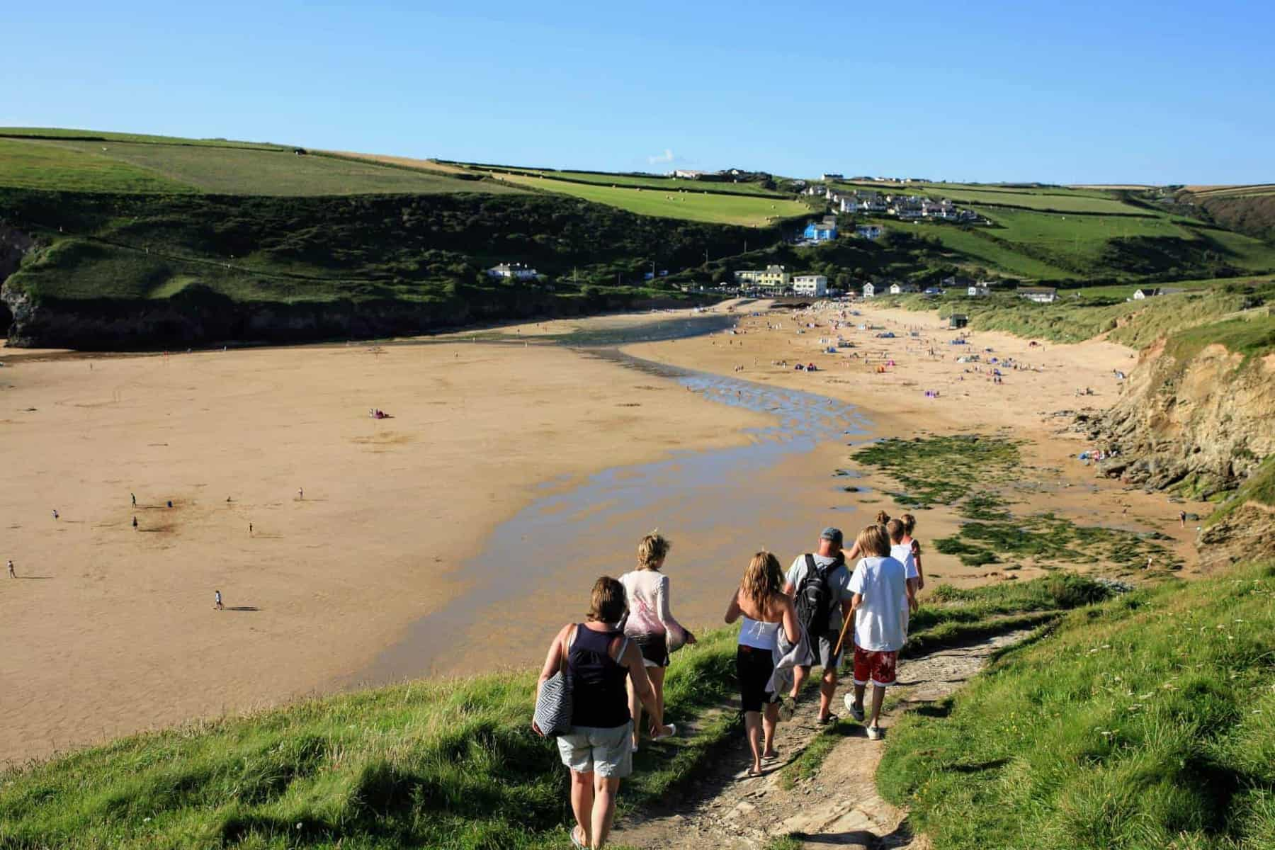 Holidaymakers at the beach in Cornwall